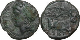 Greek Italy. Central and Southern Campania, Neapolis. AE 18 mm, 275-250 BC. Obv. Head of Apollo left, laureate. Rev. Man-headed bull right, head facin...