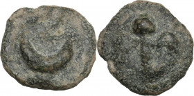 Greek Italy. Northern Apulia, Luceria. AE Semuncia, c. 217-212 BC. Obv. Crescent. Rev. Thyrsus with fillets; in field, L. Vecchi ICC 350; HN Italy 677...