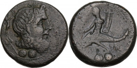 Greek Italy. Southern Apulia, Brundisium. AE Sextans, c. 215 BC. Obv. Head of Poseidon right, laureate; behind, Nike and trident; below, two pellets. ...
