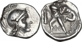 Greek Italy. Southern Apulia, Tarentum. AR Diobol, 380-325 BC. Obv. Head of Athena right, helmeted. Rev. Herakles standing and fighting lion; to left,...