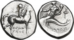 Greek Italy. Southern Apulia, Tarentum. AR Stater, c. 272-235 BC. Obv. Youth on horseback right, crowning horse; below, ΑΓΑΘΑΡΧΟΣ. Rev. Phalanthos ast...