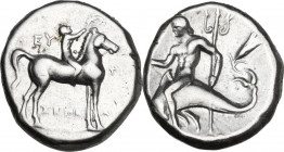 Greek Italy. Southern Apulia, Tarentum. AR Stater, c. 272-235 BC. Obv. Youth on horseback right, crowning horse; EY behind; ΦΙ before; ΞΕΝΕΑΣ below. R...