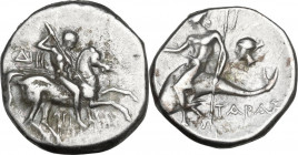 Greek Italy. Southern Apulia, Tarentum. AR Stater, c. 272-235 BC. Obv. Youth on horseback right, spearing downward; ΔI in left field; below, API-ΣΤΟ /...