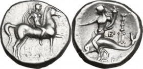 Greek Italy. Southern Apulia, Tarentum. AR Stater, c. 272-235 BC. Obv. Youth on horseback right, holding round shield and two lances in left hand, spe...