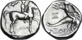 Greek Italy. Southern Apulia, Tarentum. AR Stater, c. 272-235 BC. Obv. Youth on horseback right, above, Nike flying right, crowning rider; EY to righ;...