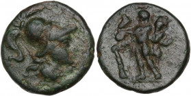 Greek Italy. Southern Apulia, Uxentum. AE 15 mm, 150-125 BC. Obv. Head of Athena right, helmeted. Rev. Herakles standing facing, leaning on club and h...