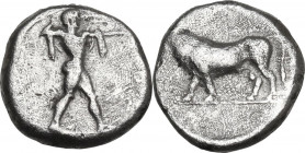Greek Italy. Lucania, Poseidonia-Paestum. AR Diobol, 410-350 BC. Obv. Poseidon striding right, drapery hanging over shoulders, hurling trident. Rev. B...