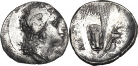 Greek Italy. Southern Lucania, Metapontum. AR Stater, c. 330-290 BC. Obv. Wreathed head of Demeter right; ΔA[I] below chin. Rev. Barley ear, leaf to r...