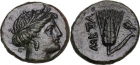 Greek Italy. Southern Lucania, Metapontum. AE 15 mm, 275-250 BC. Obv. Head of Demeter right, wearing wreath of grain. Rev. Ear of barley; to right, fl...