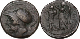 Greek Italy. Bruttium, The Brettii. AE Double unit, 214-211 BC. Obv. Head of Ares left, helmeted; behind, two pellets. Rev. Nike standing left, holdin...