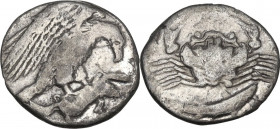Sicily. Akragas. AR Hemidrachm, 410-406 BC. Obv. Eagle on hare right. Rev. Crab; below, fish. HGC 2 105; SNG ANS 1010; Weber 1198. AR. 1.99 g. 15.00 m...