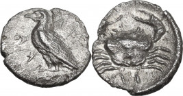 Sicily. Akragas. AR Litra, 460-440 BC. Obv. Eagle standing left. Rev. Crab. HGC 2 121; SNG ANS 989-995. AR. 0.56 g. 10.00 mm. Slightly porous surfaces...