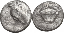 Sicily. Akragas. AR Litra, 460-440 BC. Obv. Eagle standing left, wings closed. Rev. Crab. HGC 2 121; SNG ANS 989-995. AR. 0.60 g. 9.00 mm. Lightly ton...