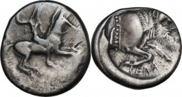 Sicily. Gela. AR Didrachm, c. 490/85-480/75 BC. Obv. Warrior, nude but for helmet, riding right, preparing to cast javelin held aloft in his right han...