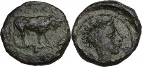 Sicily. Gela. AE Onkia, 420-405 BC. Obv. Bull standing right. Rev. Head of river god right. CNS III 21; HGC 2 383. AE. 1.01 g. 11.00 mm. Dark olive gr...