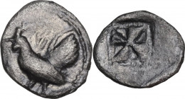 Sicily. Himera. AR Litra, 530-482 BC. Obv. Rooster standing left. Rev. Incuse square with windmill pattern. HGC 2 427; SNG ANS 145; Kraay, Himera 282....