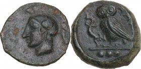 Sicily. Kamarina. AE Tetras, 425-405 BC. Obv. Head of Athena left, helmeted. Rev. Owl standing left, head facing, wings closed, holding lizard; in exe...