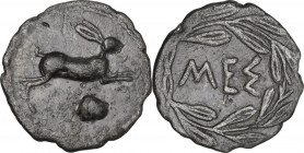 Sicily. Messana. AR Litra, 461-396 BC. Obv. Hare leaping right; below, cockle shell. Rev. ΜΕΣ within wreath. HGC 2 817; SNG Cop. 411-415. AR. 0.76 g. ...