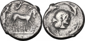 Sicily. Syracuse. Hieron I (478-466 BC). AR Tetradrachm, struck circa 475-470 BC. Obv. Charioteer driving quadriga right; above, Nike flying right, cr...