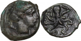 Sicily. Syracuse. Second Democracy (466-405 BC). AE Tetras, c. 435-415 BC. Obv. Head of Arethusa right. Rev. Octopus. CNS II 1; HGC 2 1428. AE. 2.57 g...