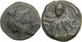 Sicily. Syracuse. Second Democracy (466-405 BC). AE Hexas, c. 435-415 BC. Obv. Head of Arethusa right; dolphin flanking. Rev. Octopus. CNS I 1; HGC 2 ...
