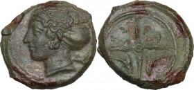 Sicily. Syracuse. Second Democracy (466-405 BC). AE 17 mm, c. 415-405 BC. Obv. Head of Arethusa left; behind, dolphin. Rev. Wheel with four spokes; in...