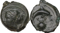 Sicily. Syracuse. Second Democracy (466-405 BC). AE 17 mm, c. 415-405 BC. Obv. Head of Arethusa left. Rev. Dolphin right; below, cockle shell. CNS II ...