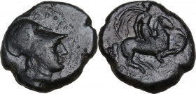 Sicily. Syracuse. Agathokles (317-289 BC). AE Hemilitron, c. 305-295 BC. Obv. Head of Athena right, wearing crested Corinthian helmet. Rev. Warrior, h...