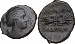 Sicily. Syracuse. Agathokles (317-289 BC). AE 25 mm, c. 295-289 BC. Obv. Head of Artemis Soteira right, quiver over shoulder. Rev. Winged thunderbolt....