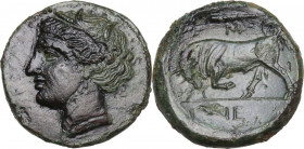 Sicily. Syracuse. Hieron II (274-215 BC). AE 20 mm, c. 275-269/265 BC. Obv. Head of Persephone left, wearing wreath of grain. Rev. Bull butting left; ...
