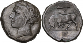 Sicily. Syracuse. Hieron II (274-215 BC). AE 21 mm, c. 275-269/5 BC. Obv. Head of Persephone left, wearing wreath of grain; behind, symbol. Rev. Bull ...