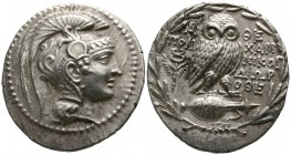 Attica. Athens. ΠOΛY- (Poly-), NIKOΓ- (Nikogenes), ΔΩP-(Dorotheos), magistrates 133 BC. Tetradrachm AR. New Style coinage.