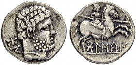 IBEROCELTS. OSCA. Denarius 150/100. Obv. Bearded male head to r., wearing pearl necklace. Rev. Horseman with couched lance galloping to r. 3.66 g. Bur...