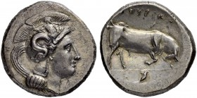 LUCANIA. Thurium. Distater 400/350. Obv. Helmeted head of Athena to r., Scylla hurling rock, adorning helmet. Rev. ΘΥΡΙΩΝ Bull charging to r., cornuco...