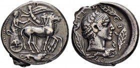 SICILY. Leontinoi. Tetradrachm shortly after 480. Dies by the Demareteion Master. Obv. Slow quadriga to r. Nike crowning the standing driver who holds...