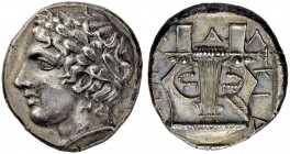 MACEDONIA. Chalcidian League. Tetradrachm 390, Olynthos. Obv. Laureate head of Apollo to l. Rev. ΧΑΛΚΙΔΕΩΝ Kithara within incuse square. 14.32 g. Robi...
