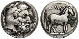 MACEDONIA, Kingdom. Amyntas III. 393-369 BC. Didrachm 389/383. Obv. Head of Herakles to r. Rev. Horse in linear square r., above AMY. 10.48 g. SNG ANS...