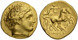 MACEDONIAN EMPIRE. Philip II, 359-336. Gold stater 340/328, Pella. Obv. Head of Apollo with laurel wreath to r. Rev. Biga to r., charioteer holds kent...