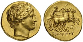 MACEDONIAN EMPIRE. Philip II, 359-336. Gold stater 323/315, Amphipolis. Posthumous issue. Obv. Youthful head of Apollo with laurel wreath to r. Rev. B...