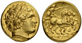 MACEDONIAN EMPIRE. Philip II, 359-336. Gold stater 323/315, Lampsakos. Posthumous issue. Obv. Head of Apollo with laurel wreath to r. Rev. Biga to r. ...