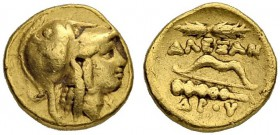 MACEDONIAN EMPIRE. Alexander III, 336-323. 1/4 Gold stater 330/320, Amphipolis. Obv. Head of Athena to r. wearing crested Corinthian helmet. Rev. Thun...