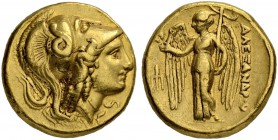 MACEDONIAN EMPIRE. Alexander III, 336-323. Gold distater 330/320, Amphipolis. Obv. Helmeted head of Athena to r., hair falling down in ringlets, helme...