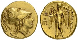 MACEDONIAN EMPIRE. Alexander III, 336-323. Gold stater 330/320, Amphipolis. Obv. Head of Athena in Corinthian helmet to r. Snake on helmet bowl. Rev. ...