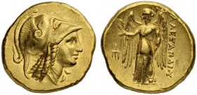 MACEDONIAN EMPIRE. Alexander III, 336-323. Gold stater 330/320, Amphipolis. Obv. Head of Athena to r., wearing crested Corinthian helmet pushed back o...