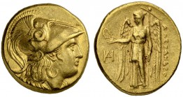 MACEDONIAN EMPIRE. Alexander III, 336-323. Gold stater 325/323, Miletus. Obv. Head of Athena to r. wearing crested Corinthian helmet. Coiled snake on ...