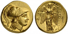 MACEDONIAN EMPIRE. Alexander III, 336-323. Gold stater 323/319, Miletus. Posthumous issue. Obv. Head of Athena to r. wearing crested Corinthian helmet...