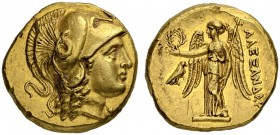 MACEDONIAN EMPIRE. Alexander III, 336-323. Gold stater 332/323, Salamis. Obv. Head of Athena to r., wearing crested Corinthian helmet pushed back on h...