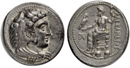 MACEDONIAN EMPIRE. Alexander III, 336-323. Tetradrachm 325/323, Myriandrus. Obv. Head of Herakles with features of Alexander the Great in lion's skin ...