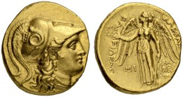 MACEDONIAN EMPIRE. Alexander III, 336-323. Gold stater 311/305, Babylon. Posthumous issue. Obv. Head of Athena to r. wearing crested Corinthian helmet...