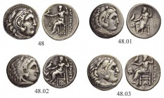 MACEDONIAN EMPIRE. Alexander III, 336-323. Drachm. Lot of 4. Fine-very fine.